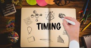 Timing grafika na notatniku ręka rysuje mnie Obrazy Royalty Free