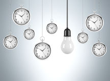 Timing and new ideas. Several pocket watches hanging from th ceiling, one bulb among them. Grey background. Concept of time and new ideas Royalty Free Stock Photos