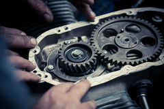 Timing sprockets in boxer engine Royalty Free Stock Photo