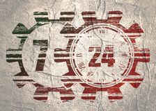 Timing symbol 7 and 24. Time operation mode in gear. For customer support and retail. Seven days twenty four hour. Grunge texture Royalty Free Stock Photo