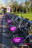 TIMISOARA, ΡΟΥΜΑΝΊΑ-03 28 2019 δημόσιο σύστημα ποδηλάτων ενοικίου Ποδήλατα που ελλιμενίζονται στο σταθμό στοκ φωτογραφίες