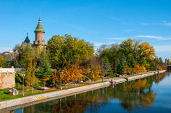 Timisoara channel with orthodox church. Orthodox church in Timisoara near channel during autumn Royalty Free Stock Photo