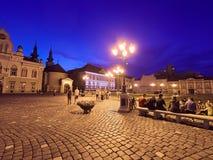 Timisoara City in Romania at Night. Central Square stock photo