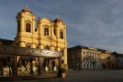 Timisoara city square and cafe Royalty Free Stock Photos