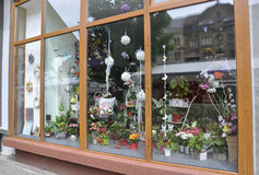 Timisoara, June 22nd: Flowershop Window from Victory Square in Timisoara town from Banat county in Romania Stock Photography