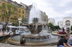Timisoara, am 22. Juni: Brunnen mit Fischen von Victory Square in Timisoara-Stadt von Banats-Grafschaft in Rumänien Lizenzfreies Stockfoto
