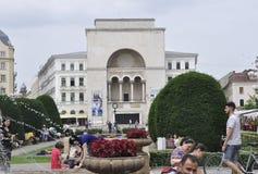 Timisoara, am 22. Juni: Opern-Gebäude von Victory Square in Timisoara-Stadt von Banats-Grafschaft in Rumänien Lizenzfreies Stockbild