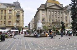 Timisoara, 21 Juni: Victory Square in Timisoara-stad van Banat-provincie in Roemenië Royalty-vrije Stock Foto