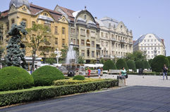 Timisoara, 21 Juni: Victory Square in Timisoara-stad van Banat-provincie in Roemenië Royalty-vrije Stock Fotografie