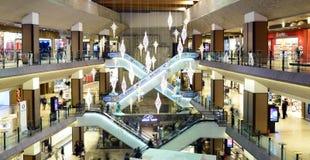 Timisoara mall editorial. TIMISOARA, ROMANIA - 12.17.2015: city mall escalators interior design atrium architecture Royalty Free Stock Photos