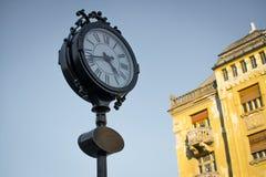 Timisoara Opera Square Clock. Big public clock in Victory Square (Piata Victoriei) Timisoara, Romania Stock Image