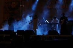 TIMISOARA, ROEMENIË-06 11 2014 Zanger in het vleklicht van het stadium met mooie stralen van licht stock foto