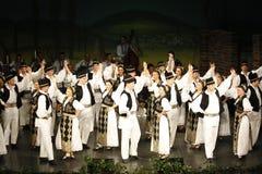 TIMISOARA, ROEMENI? 12 10 2014 de Roemeense dansers in traditioneel kostuum, voeren een folkore traditionele dans uit royalty-vrije stock fotografie