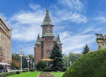 TIMISOARA, ROMÊNIA - 15 de outubro de 2016 catedral ortodoxo romena em Timisoara imagem de stock royalty free