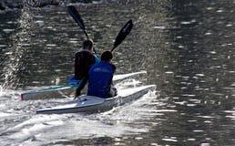 TIMISOARA, ROMANIA – 11.07.2014 Two kayak athletes, sportsmen royalty free stock photography