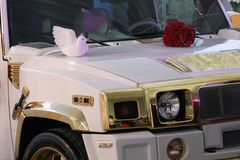 TIMISOARA, ROMANIA –cca 2012 White luxury car for private events or weddings royalty free stock photography