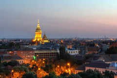 Timisoara, Romania. Skyline at sunset from a high point of view of Timisoara, Romania with focus on the main landmark of the city, the Orthodox Cathedral royalty free stock photography
