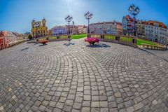 View of one part at Union Square in Timisoara, Romania. TIMISOARA, ROMANIA - AUGUST 24, 2017: View of one part at Union Square in Timisoara, Romania, with old Stock Photos