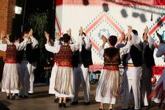 TIMISOARA, ROMANIA 12 10 2014 ballerini rumeni in costume tradizionale, eseguono un ballo tradizionale del folkore fotografia stock libera da diritti
