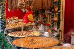 Christmas fair with traditional products, Timisoara, Romania stock images
