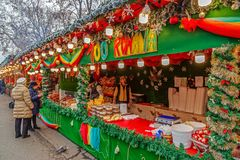 Street Christmas fair, Timisoara, Romania royalty free stock image