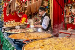 Street Christmas fair with traditional products stock photography