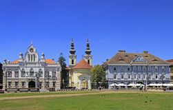 People are walking by the Union square in Timisoara, Romania Stock Image