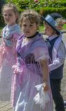 Childs at the parade of the Swabian folk costumes, Timisoara, Romania stock image