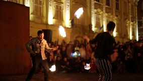 Public fireshow organized in Timisoara, Romania stock footage