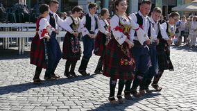 Young Serbian folk dancers perform at one show in Timisoara, Romania 5 stock footage