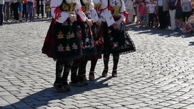 Young Serbian folk dancers perform at one show in Timisoara, Romania 1 stock footage