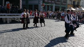 Young Serbian folk dancers perform at one show in Timisoara, Romania 3 stock video