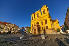 Timisoara, Romania - Piata Unirii Union Square with the Catholic Dome Stock Images