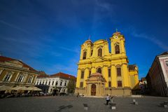 Timisoara, Romania - Piata Unirii Union Square with the Catholic Dome Stock Photo