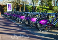 TIMISOARA, ROMANIA-03.28.2019 Public rental bicycle system. Bikes docked in station royalty free stock photography