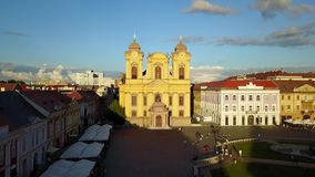 Timisoara, Romania. Short drone footage flying over Piata Unirii towards the St. George Church in Timisoara, Romania stock footage