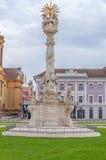 TIMISOARA, RUMANIA - 15 de octubre de 2016 detalle de la estatua de la trinidad santa en el cuadrado 1 de la unión Fotografía de archivo