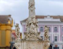 TIMISOARA, RUMANIA - 15 de octubre de 2016 detalle de la estatua de la trinidad santa en el cuadrado 1 de la unión Fotografía de archivo libre de regalías