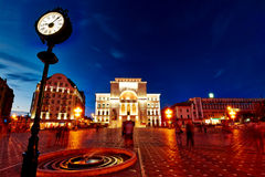 Timisoara. Victory square with strong lights on Opera and Theater building in Timisoara, Romania Stock Images