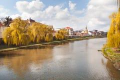 Timisrivier in Lugoj-stad Royalty-vrije Stock Afbeelding