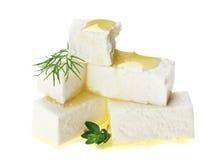 timjan för olja för feta för ostkubdroppar fattar Royaltyfri Foto