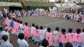 Timket, a celebração ortodoxo etíope do esmagamento Imagens de Stock