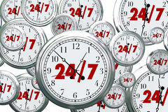 24 7 timmar öppna klockor Tid för dagservice alltid Arkivfoton
