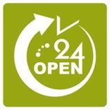 24 timmar öppnar symbolen vektor illustrationer