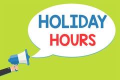 Timmar för ferie för ordhandstiltext Affärsidé för schema man för bokslut 24 eller 7 halvdag i dag för sista minut sen stock illustrationer