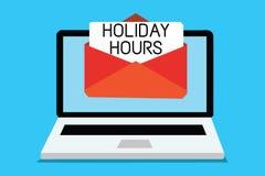 Timmar för ferie för textteckenvisning Begreppsmässigt fotoschema sen stängande dator 24 eller 7 halvdag i dag för sista minut royaltyfri illustrationer