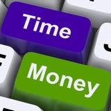Timmar för show för Tid pengartangenter är viktigare än rikedom arkivfoton
