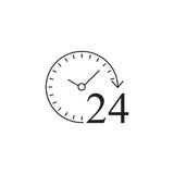 24 timmar fast symbol, kundtjänst, service Royaltyfria Foton