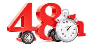48 timmar fastar leveransbegreppet, tolkningen 3D Royaltyfri Fotografi