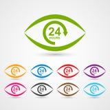 24 timmar kundtjänstsymbol i form av öga royaltyfri illustrationer